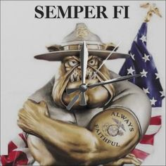 United States Marine Corps Bulldog Drill Instructor. Semper Fi Wall Clock. CLICK ONTO PHOTO TO GET DIRECT ONLINE ACCESS