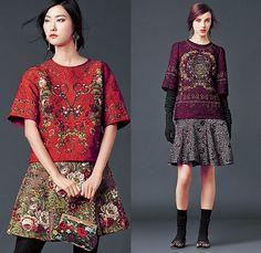 Dolce & Gabbana 2014-2015 Fall Autumn Winter Womens Lookbook Collection - Baroque Print Motif Flowers Florals Botanical Sweater Jumper Jacquard Brocade Embossed Engraved Keys Skirt Frock Embroidery Tights Leggings Gloves Tunic Dress Laser Cut Perforated 3D Cutout Lace Leather Pleats Peter Pan Collar Turtleneck Knit Ribbon Pantsuit Blazer Tuxedo Tweed Wool Silk Bouclé Furry Coat Outerwear Mesh Gown Drapery