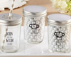 Personalized Mason Jar - Born To Be Wild Baby Shower Collection