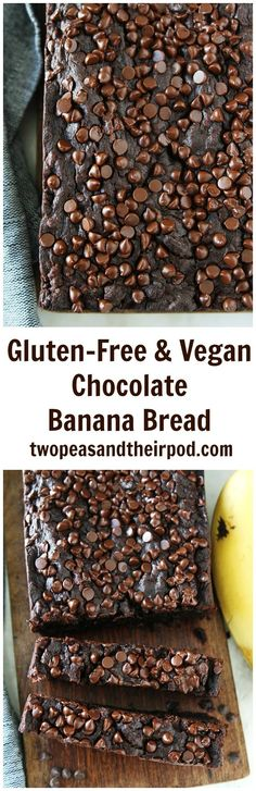 Gluten-Free Vegan Chocolate Banana Bread Recipe on http://twopeasandtheirpod.com You will never know this rich, moist, and delicious chocolate banana bread is gluten-free and vegan. It is SO good!