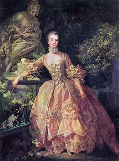 Madame de Pompadour's most famous portrait.  This dress was copied in Dangerous Liaisons for Marquise de Merteuil (Glenn Close).