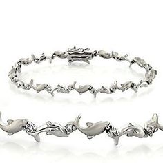 Sterling Silver Bracelets With Clear Cz 7 5 Dolphins 91 80