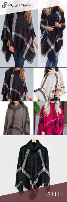 RESTOCKING!! BLACK SOLD OUT!! NEW, Sweater Poncho NEW, 2017 Sweater Poncho. This is absolutely beautiful And Trendy! It Looks Great With Jeans, Leggings, And Boots! Yes... OH YES!! Tops