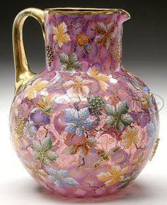 Moser Glass; Pitcher, Grape Leaves & Vines, Coin Spot, Bird & Insects, Cranberry & Gilt, 8 inch.