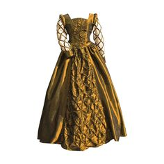 gold pearl renaissance gown ❤ liked on Polyvore featuring dresses, medieval, gowns, medieval dress and costumes