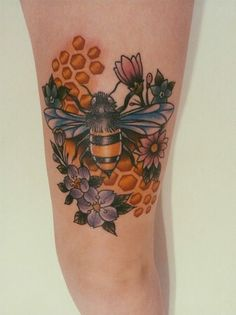 Honey bee done by Misty Minor at Artistic Impressions in Welland, ON. Excuse the redness around the honeycombs, this was taken shortly afte...