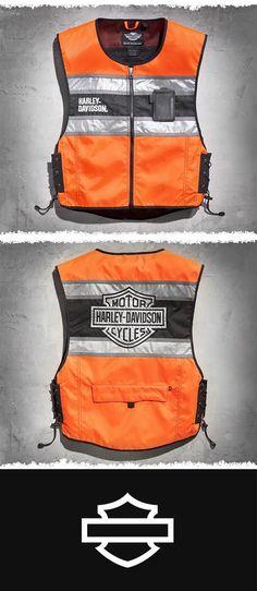 Designed to be worn over leather or textile jackets for added visibility and packs into itself for easy storage while on your bike.   Harley-Davidson Men's Hi-Vis Vest #harleydavidsongirlsstyle