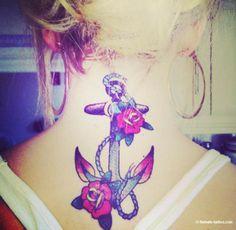 Female Tattoos - Anchor Rose Tattoo