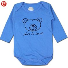 8f0d3c11d06 2016 New Casual Blue Baby Bodysuit Newborn Boys Girls Cotton This is Love  Pattern Long