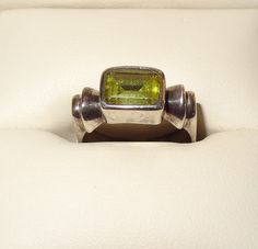 Vintge Sterling Silver and Emerald Cut Peridot Ring Size 7 1/2