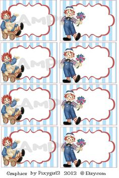 Raggedy Ann and Andy Aceo Tags Set of 8  Digital by pixygirl2, $3.00