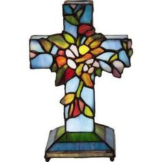 This Light Blue Flowers & Vines Stained Glass Cross Window Panel by River of Goods is perfect! Battery Operated Table Lamps, Stain Glass Cross, Light Blue Flowers, Stained Glass Flowers, Cottage Furniture, Lamp Shade Store, Flowering Vines, Window Panels, A Table