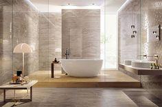 Серая плитка под камень для ванной