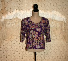 India Bohemian Clothing Boxy Top Rayon Floral 90s by MagpieandOtis