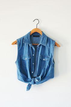 jean sleeveless blouse that ties at bottom