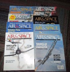 LOT OF 8 SMITHSONIAN AIR & SPACE MAGAZINE 1999 - 2002, EXCELLENT COLLECTOR…