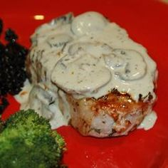 Pork Chops with Blue Cheese Sauce.  This recipe is amazing and so easy!  I used bleu cheese dressing instead of bleu cheese crumbles because it's what we had.  Will def make again.