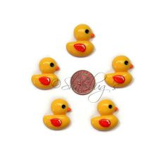 Ducky flatback resin cabochon. 5pc lot by Shaebugsupply on Etsy