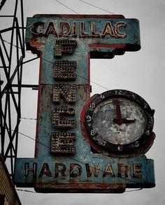 Cadillac Hardware vintage neon sign and clock Abandoned Buildings, Abandoned Detroit, Abandoned Places, Old Neon Signs, Vintage Neon Signs, Old Signs, Bedroom Vintage, Vintage Room, Vintage Type