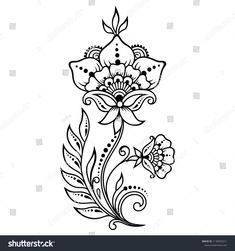 Mehndi flower pattern for Henna drawing and tattoo. Decoration in ethnic orienta… Mehndi flower pattern for Henna drawing and tattoo. Decoration in ethnic oriental, Indian style. Henna Flower Designs, Mehndi Flower, Beautiful Henna Designs, Simbols Tattoo, Henna Tattoo Kit, Henna Tattoo Designs, All Mehndi Design, Mehndi Style, Simple Mehndi Designs