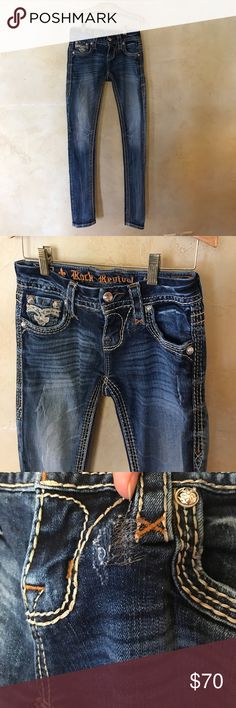"""Rock Revival Jeans In Great Condition except for patched up hole as shown in photos. Inseam- 30""""    Rise- 7""""   Waist- a little over 12 inches Rock Revival Jeans"""
