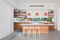 terra cotta pendants | white | wood | modern | windows for backsplash | polished concrete floors | concrete countertop | open shelving | Martin House - contemporary - Kitchen - Melbourne - bg architecture