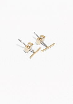 & Other Stories Thin Bar Studs in Gold