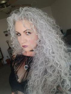 Grey Curly Hair, Long Gray Hair, Big Hair, White Hair, Curly Hair Styles, Going Gray Gracefully, Aging Gracefully, Shades Of Gray Color, Grey Hair Journey
