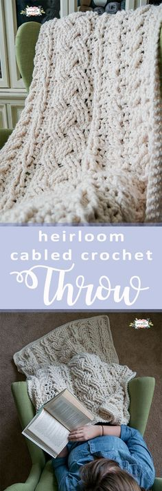 Crochet the Heirloom Cabled Throw blanket afghan perfect for fall and winter! STITCH BY STITCH Video tutorial and FREE written pattern on my blog