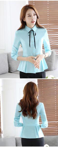 Nuevo arco de la manera de manga larga mujeres camiseta elegante OL dobladillo plus tamaño blusa de la gasa señoras de la oficina work wear tops formales blanco azul en Blusas y Camisas de Ropa y Accesorios de las mujeres en AliExpress.com | Alibaba Group