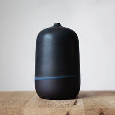Barbara Lormelle - Black porcelain, vase « blue line Vase, Blue Line, Stoneware, Porcelain, Handmade, Surface, Instagram, Artists, Design