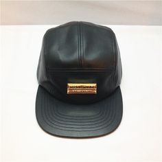 d112fae92ce cool whole black leather 5 panel hat with flat brim.design your own logo