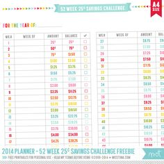 FREE Printable 25¢ version of my 52 Week Savings Challenge page – perfect for kids!