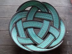 """Large 18"""" Rope Basket Prop Bowl Fruit Basket Centerpiece Green & Chocolate Rope Recycled"""