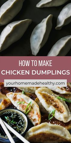 With their perfectly crisp outer shell and warm flavorful filling, with ground chicken, cabbage, and ginger, these healthy chinese chicken dumplings are one of the best meals around. You can learn how to make your own dough or pick up wrappers at the store. This recipe offers suggestions for making things quick and easy, while keeping them as homemade as possible. Pair these dumplings with the slightly salty, nutty, and tangy sesame soy dipping sauce, it's a match made in heaven! Ground Chicken Recipes, Healthy Chicken Recipes, Asian Recipes, Healthy Snacks, Chinese Chicken Dumplings, Healthy Chinese, Crisp, Cabbage, Dinner Recipes