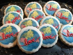 Love makes the world go round wedding shower cookies. #decorated #sugar #cookies #edibleimages