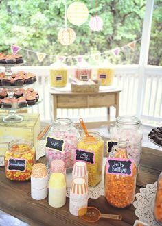 Dessert Bar. Candy Bar. Sweet Treats. Rustic Wedding. Candy Buffett. Bright Colors. Orange, Pink, Yellow Wedding.