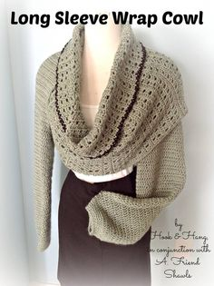 Long sleeve wrap cowl, crochet, pattern includes pictures, and charts to size pup and size down. http://www.ravelry.com/stores/melissa-r-m-frank-designs