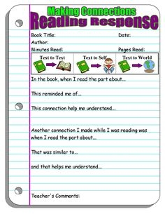 response forms (making connections, visualizing, asking questions, inferring, story elements, summarizing, open ended responses to teacher given prompts) - fiction (will have informational sheets up)