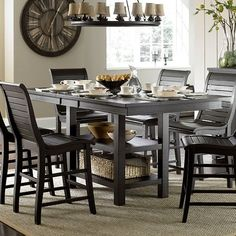 Willow Rectangular Counter Height Table (Distressed Black) #counterheighttable #diningroom