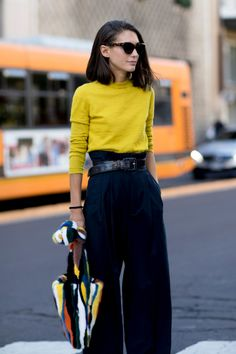 crewneck sweater, paper bag waist pants, wide leather belt