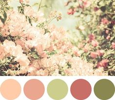 Verde, rosa blush e rosê em uma linda paleta de cores para o casamento.