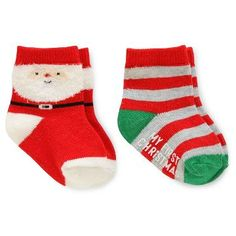 Baby 2 Pack Christmas Socks Red/Grey  - Just One You™Made by Carter's®