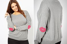 Lip-shaped elbow patches? What a cute way to stay cozy.