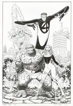 The Fantastic Four by Arthur Adams. I love Adams but I do have a few issues with this piece. Why is Sue throwing that pose? Who is in the Rocket leaving the Baxter Building?