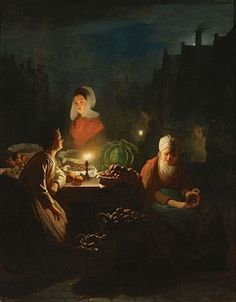 A VEGETABLE SELLER BY CANDLELIGHT By Johannes Rosierse