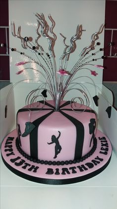 Pink and black Street Dance theme birthday cake.