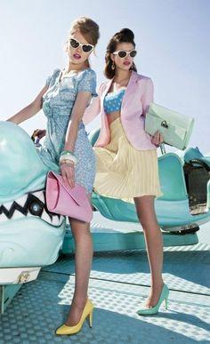 pastel fashion - fairground fashion shoot.