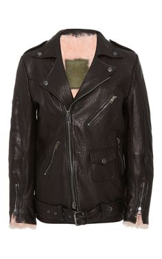 Fur Lined Leather Biker Jacket by MR & MRS ITALY for Preorder on Moda Operandi