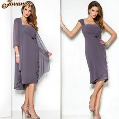Cheap dress champagne, Buy Quality dresses mother of the bride directly from China dress bright Suppliers: 	Formal Light Purple Chiffon 3/4 Sleeves Evning Dress Knee Length Mother Of The Bride Dresses With Long J